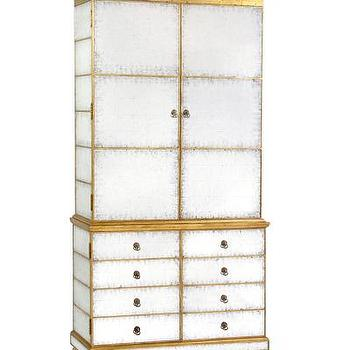 Storage Furniture - Eglomise Entertainment Center I Bliss Home and Design - gold mirrored entertainment center, antiqued mirrored entertainment center, mirrored entertainment cabinet,