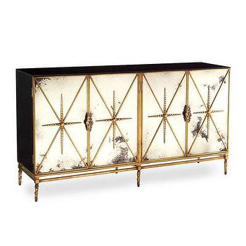 Storage Furniture - Four Door Rio Dresser I Bliss Home and Design - foxed mirror front dresser, black and gold mirror front dresser, foxed mirror gilt dresser,