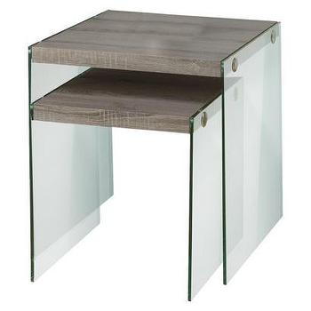 Tables - Monarch Specialties Nesting Table 2-Piece Set I Target - glass sided nesting tables, glass and wood nesting tables, wood topped glass nesting table,