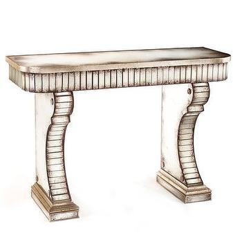 Tables - Vivaldi Console Table I Bliss Home and Design - antiqued mirrored console, silver mirrored console, antiqued silver console table,