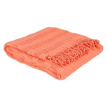 Decor/Accessories - Pleated Throw | ZARA HOME - coral pink throw, salmon pink throw, coral pink fringed throw,