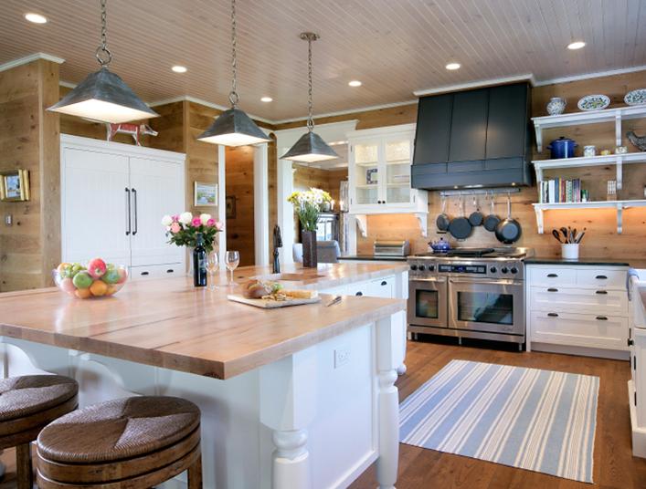 L Shaped Kitchen Island Country Kitchen Via Design