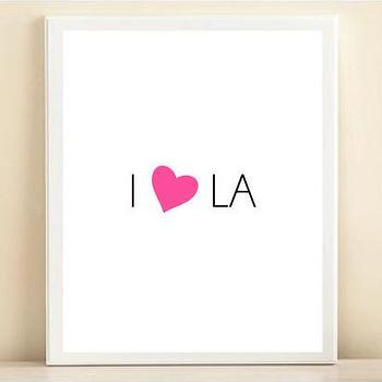 Art/Wall Decor - Pink & Black 'I Heart LA' print poster | Shop Dandy LLC - i heart la art print, i love los angeles wall art, i love la poster,