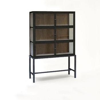 Storage Furniture - Curio Display Cabinet | West Elm - modern black curio cabinet, reclaimed oak display cabinet, black display cabinet with glass front, glass front curio cabinet,
