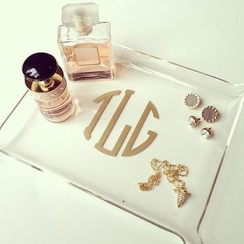 Decor/Accessories - Acrylic Monogram Small Tray | Shop Dandy LLC - acrylic tray, acrylic vanity tray, monogrammed acrylic tray, gold monogrammed acrylic tray,