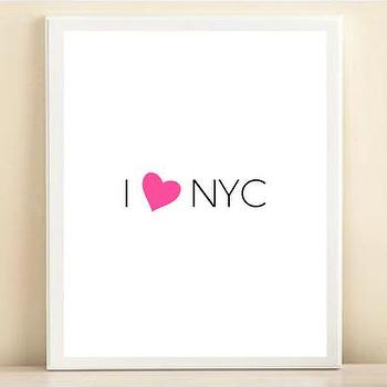 Art/Wall Decor - Pink & Black 'I Heart NYC' print poster | Shop Dandy LLC - i heart nyc wall art, i love nyc art print, i heart new york city art,