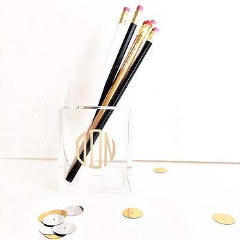 Decor/Accessories - Monogram Pencil Holder | Shop Dandy LLC - monogrammed acrylic pencil holder, monogrammed make up brush holder, monogrammed acrylic make up brush holder,