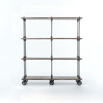 Storage Furniture - Timber Rolling Bookcase | West Elm - industrial bookcase, iron and wood bookcase, industrial bookcase on wheels, industrial bookcase on castors,
