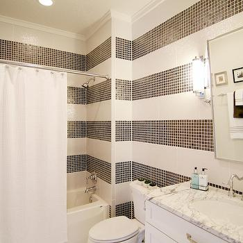 Neighborhood Builders - bathrooms - black and white bath, black and white bathroom, black and white tiles, black and white shower tiles, black and white shower tiles, black and white shower surround, drop in shower, striped bathroom, rectangular pivot mirror, white vanity, white marble countertop, basketweave shower curtain, white shower curtain,