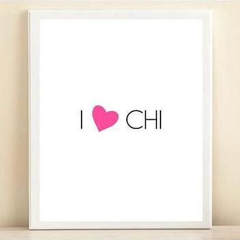 Art/Wall Decor - Pink & Black 'I Heart Chi' print poster | Shop Dandy LLC - i heart chi wall art, i heart chi art print, i love chi poster,