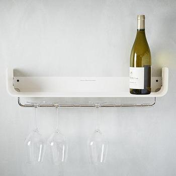 Art/Wall Decor - Universal Expert Shelves Wine Rack | West Elm - wine glass shelf, white glass storage, shelf with wine glass storage,