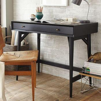 Tables - Mid-Century Mini Desk Black | West Elm - black mid century desk, black desk, modern black desk, black mini desk, small mid century desk,
