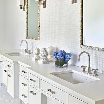 Alisberg Parker Architects - bathrooms: white bathrooms, chic bathrooms, white mosaic tiles, white glass tiles, white glass tile backsplash, iridescent tiles, white iridescent tiles, white iridescent backsplash, vanity mirrors, mother of pearl mirrors, contemporary double vanity, contemporary double washstand, his and her sinks, gooseneck faucets,