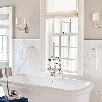 Marble Wainscoting, Transitional, bathroom, Alisberg Parker Architects