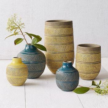 Decor/Accessories - Linework Vases Diagonal Line | West Elm - peacock blue vase, blue terracotta vase, yellow terracotta vase, blue etched terracotta vase, yellow etched terracotta vase,