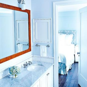 Rae McConville Interiors - bathrooms - Pratt and Lambert - Sky Cloud - burl wood, marble, double sinks, sconce, medicine cabinet, small space, new york, master bath, shaker,