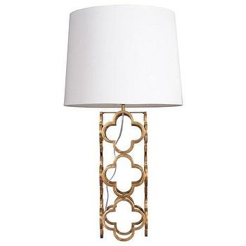 Lighting - Worlds Away Darcy Gold Leaf Table Lamp  I Zinc Door - gold quatrefoil lamp, gold leaf quatrefoil lamp,