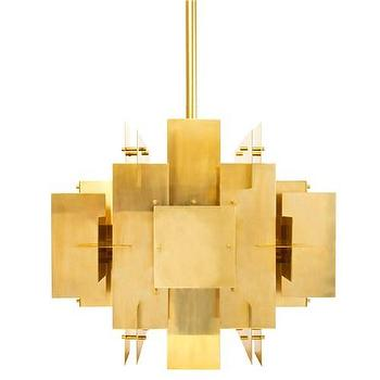 Lighting - Jonathan Adler Puzzle Chandelier I Zinc Door - antique brass chandelier, modern brass chandelier, geometric brass chandelier,