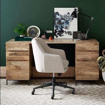Rustic Storage Modular Desk Set  2 Box Files, West Elm
