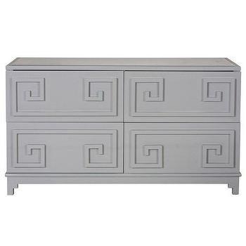 Storage Furniture - Worlds Away Werstler Gray Lacquer 4 Drawer Dresser I Zinc Door - gray greek key dresser, gray lacquered dresser, gray 4 drawer dresser, gray lacquered 4 drawer dresser,