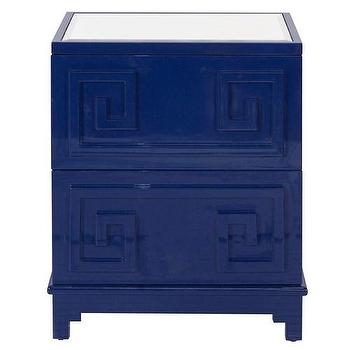 Storage Furniture - Worlds Away Pagoda Navy Lacquer 2 Drawer Chest I Zinc Door - navy greek key chest, navy greek key nightstand, navy lacquered 2 drawer chest, navy lacquered two drawer chest,