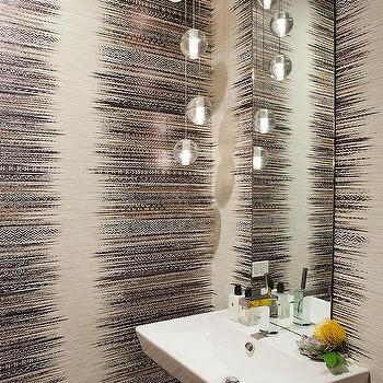 Studio Gild - bathrooms - powder room, powder room ideas, cream and black wallpaper, powder room wallpaper, wallpaper for powder rooms, contemporary powder rooms, powder room light pendants, powder room lighting, pedestal ink, vanity mirror, frameless vanity mirror, long vanity mirror,