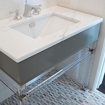 Coats Homes - bathrooms - powder room, powder room tiles, ivory paint colors, half tiled walls, gray sink vanity, gray washstand, white marble, lucite vanity, lucite sink vanity, lucite washstand, mosaic tiled floor,