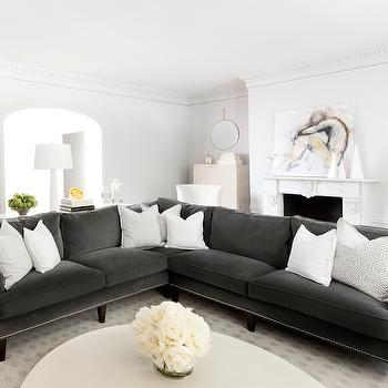 Gray Velvet Sectional, Transitional, living room, MAS Design
