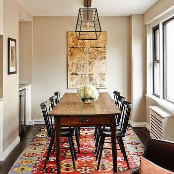 Rae McConville Interiors - dining rooms - Pratt and Lambert - Pebble - kilim rug, farm table, windsor chairs, lantern, chanderlier, abstract art, black chairs, small space, new york,