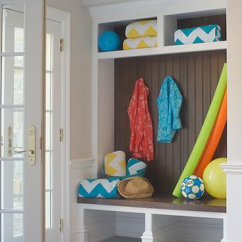 Titus Built - laundry/mud rooms - cottage mudroom, mudroom, mudroom ideas, beach cottage mudroom, mudroom cubbies, chevron towels, mudroom shoe storage,