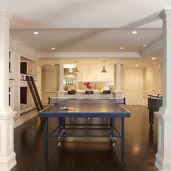 Titus Built - basements - basement play rooms, basement bunk rooms, basement sleepover rooms, sleepover rooms, bunk rooms, game rooms, basement game rooms, built in bunk beds, basement bunk beds, 6 bunk beds, ping pong table, blue ping pong table, foozball table, basement wet bar, basement kitchenette,