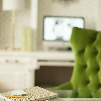 dens/libraries/offices: glass top desk, green chair, green velvet chair, green tufted chair, green velvet tufted chair, white and green office, ivory and green office,