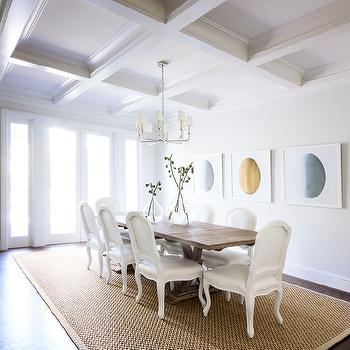 MAS Design - dining rooms - coffered ceiling, dining room coffered ceiling, coffered ceiling dining room, 8 light chandelier, salvaged wood dining table, white dining chairs, french dining chairs, bound sisal rug, dining room art,