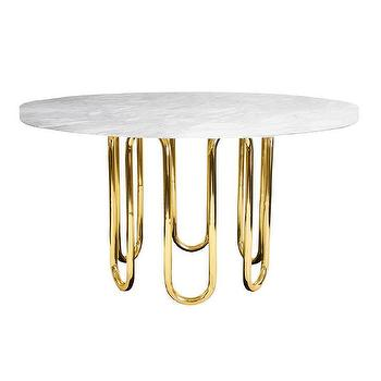 Tables - Jonathan Adler Scalinatella Dining Table I Zinc Door - brass dining table with carrera marble top, modern marble topped dining table, round brass and marble dining table,