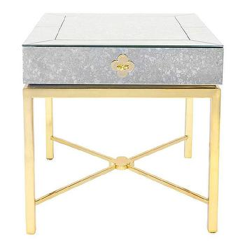 Storage Furniture - Jonathan Adler Delphine Side Table I Zinc Door - gold x base side table, gold mirror topped side table, gold side table with antique mirror, antique mirror topped side table,