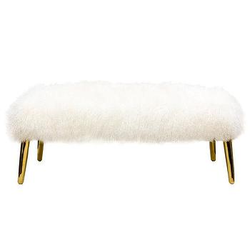 Seating - Jonathan Adler Mongolian Lamb Large Bench I Zinc Door - mongolian lamb bench, fluffy wool bench, mongolian wool bench with gold legs,