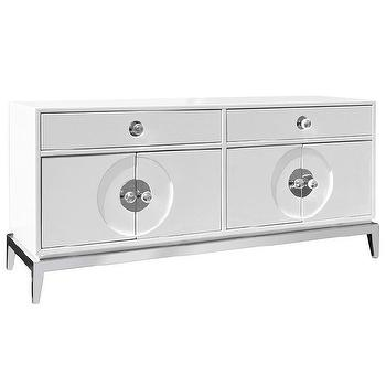 Storage Furniture - Jonathan Adler Channing Media Console I Zinc Door - modern white media cabinet, white lacquered media cabinet, white geometric front media cabinet, lacquered media cabinet on silver frame,