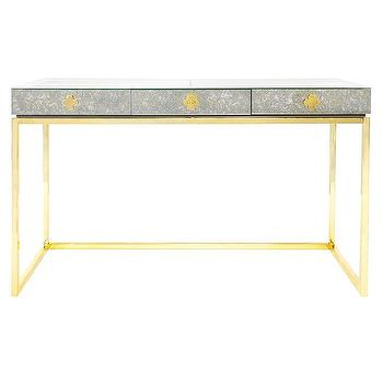 Tables - Jonathan Adler Delphine Desk I Zinc Door - brass based mirrored desk, brass desk with mirrored top, antique mirror topped desk, brass and antiqued mirrored desk,