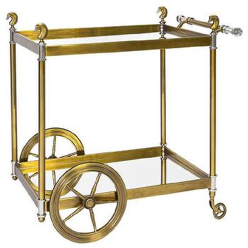 Storage Furniture - Jonathan Adler Cheval Bar Cart I Zinc Door - brass bar cart, vintage style brass bar cabinet, brass and lucite bar cart, brass horse head trimmed bar cart,