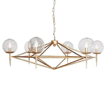 Lighting - Worlds Away Rowan Gold Leaf Chandelier I Zinc Door - modern gold leaf chandelier, gold chandelier with glass spheres, glass globe chandelier,