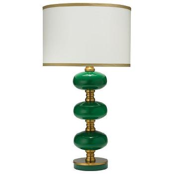 Lighting - Jamie Young Stockholm Emerald Table Lamp Base I Zinc Door - emerald green glass lamp, emerald green and brass lamp, modern emerald green lamp, emerald green table lamp,