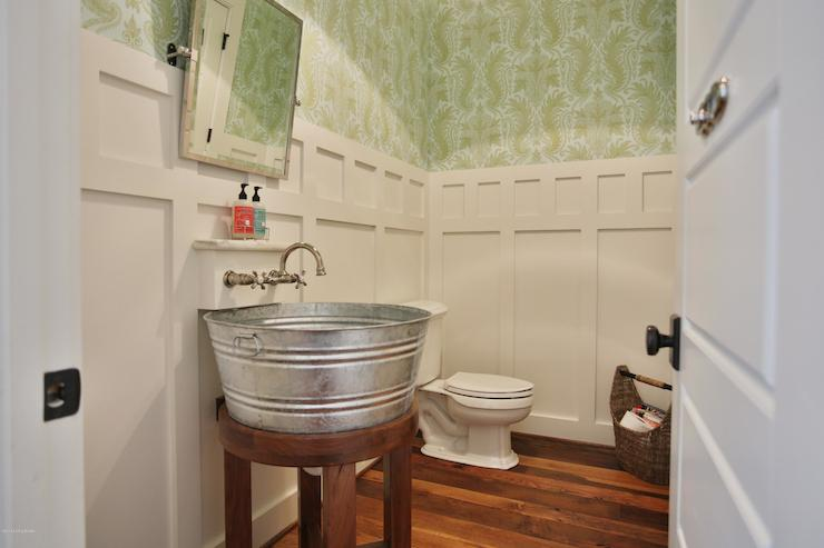 Galvanized Tub Sink Cottage Bathroom Sherwin Williams Pearly White St