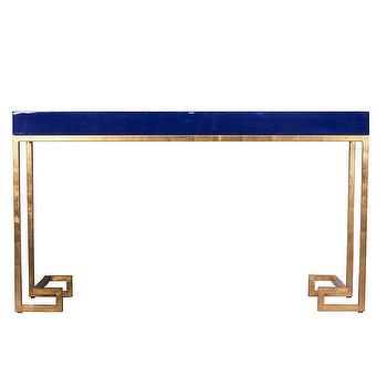 Tables - Worlds Away Barsanti Gold Leaf & Navy Lacquer Console I Zinc Door - navy lacquered console table, navy and gold console table, gold green key based console table, gold leaf navy lacquer console table,