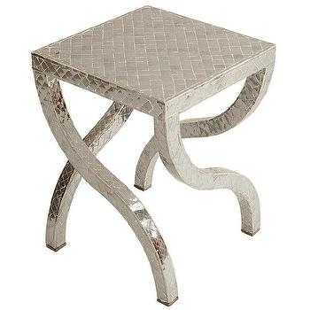 Tables - Alexandria S Leg Table I Zinc Door - mercury glass tiled table, mercury glass mosaic tiled table, s shaped leg table, metallic silver tiled side table,