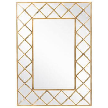 Mirrors - Surya Marigny Mirror I Zinc Door - geometric gold leaf mirror, gold lattice framed mirror, gold mirror framed mirror,