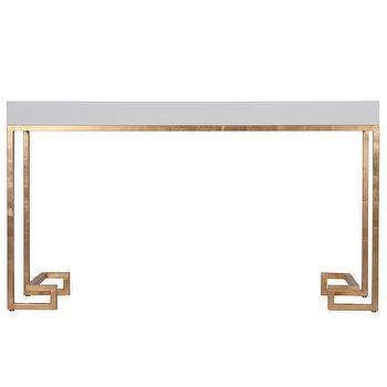 Tables - Worlds Away Barsanti Gold Leaf & White Lacquer Console I Zinc Door - white lacquer gold leaf console table, white and gold leaf console table,  gold leafed console table with white top,