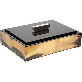 Decor/Accessories - Arca Large Horn Rectangular Box I Barneys.com - horn trinket box, modern horn box, horn box with lacquered lid, horn box with black lid,