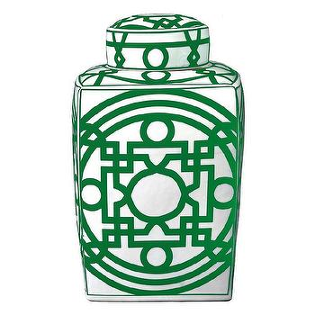 Decor/Accessories - Bungalow 5 Jasper Square Green Jar I Zinc Door - kelly green and white jar, geometric green jar, green and white geometric jar, green and white lidded jar,