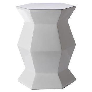 Tables - Gemma White Lacquer Spot Table I Zinc Door - geometric white side table, white lacquered accent table, angular white side table, modern white accent table,