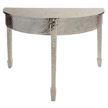Tables - Alexandria Demi Lune Table I Zinc Door - mercury glass tiled console, silver tiled demi lune table, metallic silver demi lune console, mercury glass mosaic console table, silver half moon console table,